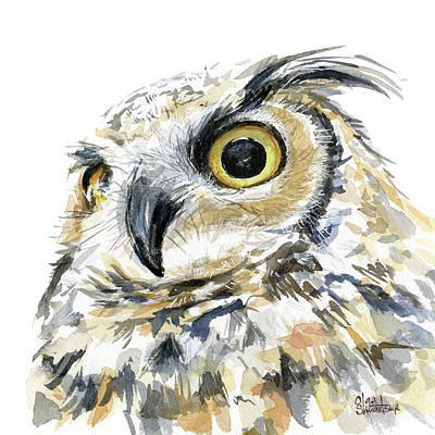 Nocturnal Painting - Great Horned Owl Watercolor by Olga Shvartsur