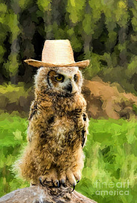 Photograph - Great Horned Owl With A Hat by Les Palenik