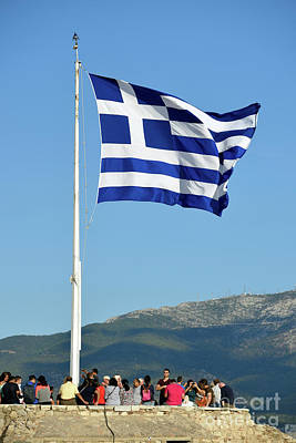 Photograph - Greek Flag In Acropolis Of Athens by George Atsametakis