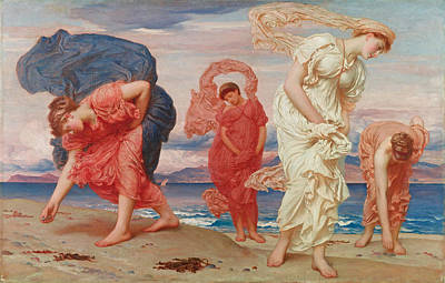 Frederic Leighton Painting - Greek Girls Picking Up Pebbles By The Sea by Frederic Leighton