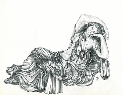 Drawing - Greek Lady In Repose by Shirley Heyn