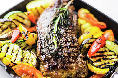 Photograph - Greek Organic Lamb Steak With Vegetables And Herbs In Skillet by Jacek Malipan