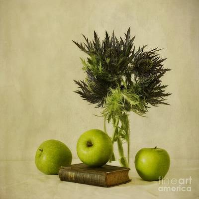 Floral Still Life Photograph - Green Apples And Blue Thistles by Priska Wettstein