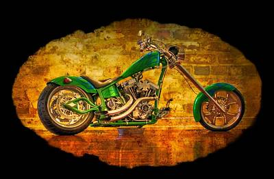 Two-wheeler Photograph - Green Chopper by Debra and Dave Vanderlaan