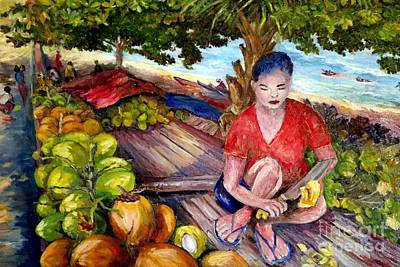 Painting - Green Coconut Cafe. by Jason Sentuf