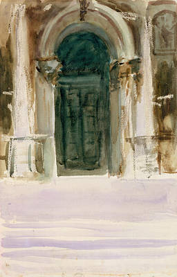 Drawing - Green Door, Santa Maria Della Salute by John Singer Sargent