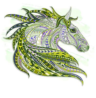 Painting - Green Ethnic Horse by Aloke Creative Store