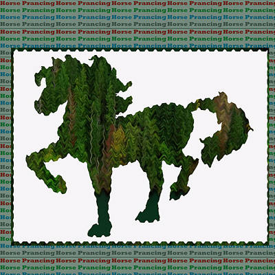 Mixed Media - Green Horse Prancing Art Made Of Jungle Green Wild Colors by Navin Joshi