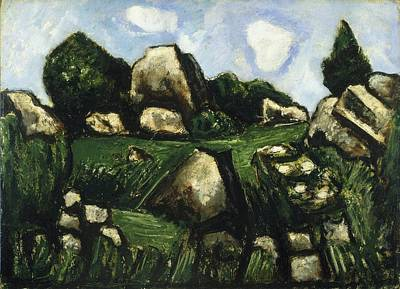 Landscape With Rocks Painting - Green Landscape With Rocks by MotionAge Designs