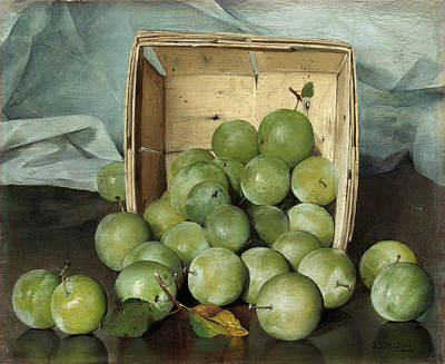 Painting - Green Plums by Joseph Decker