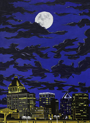 Painting - Greensboro Night Skyline by John Gibbs