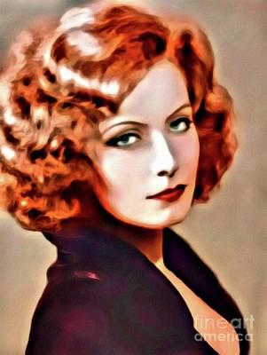 Greta Garbo Digital Art - Greta Garbo, Hollywood Legend, Digital Art By Mary Bassett by Mary Bassett