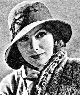 Musicians Drawings - Greta Garbo, Vintage Actress by JS by John Springfield