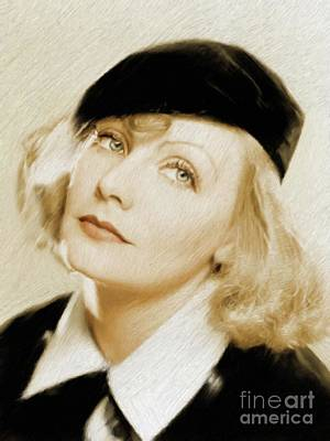 Musician Royalty-Free and Rights-Managed Images - Greta Garbo, Vintage Actress by Mary Bassett