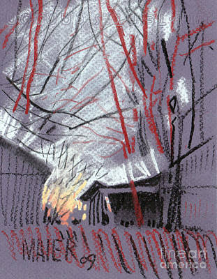 Barn Drawing - Grey Evening by Donald Maier