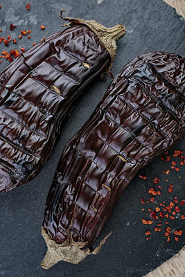 Flakes Photograph - Grilled Aubergine by Nailia Schwarz