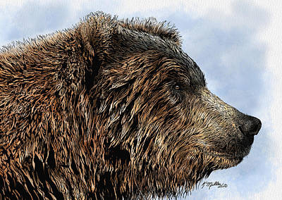 Mixed Media - Grizzly Bear by Kathie Miller