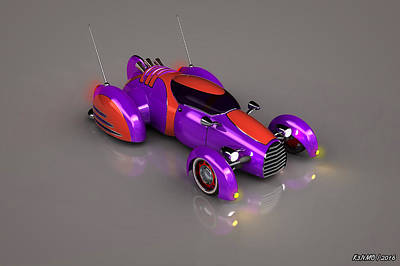 Hot Rod Mixed Media - Grobo Car by Ken Morris