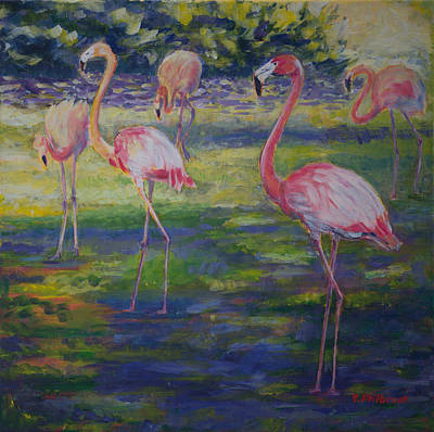 Greater Flamingos Painting - Group Of Flamingoes by Val Philbrook