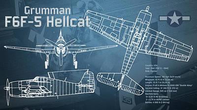 Plane Digital Art - Grumman F6f-5 Hellcat Blueprint by Jose Elias - Sofia Pereira