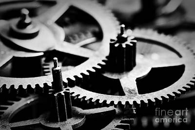 Working Photograph - Grunge Gear, Cog Wheels Black And White Background by Michal Bednarek