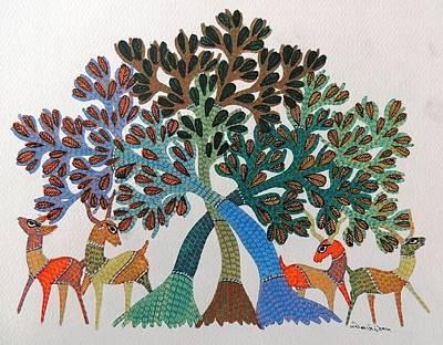 Gond Painting - Gst 99 by Gareeba Singh Tekam