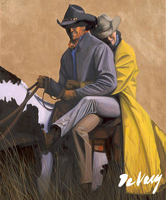 Beautiful Western Cowgirl Painting - Guardian Angel by David DeVary