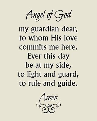 Digital Art - Guardian Angel Prayer by Classically Printed
