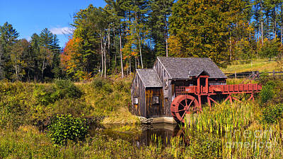 Photograph - Guildhall Grist Mill In Fall Colors. by New England Photography