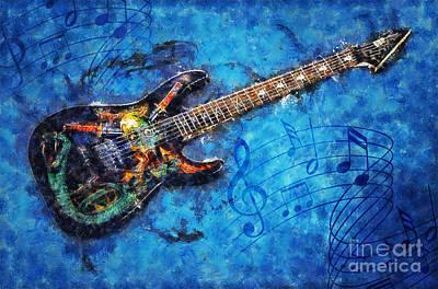 Sound Digital Art - Guitar Love by Ian Mitchell