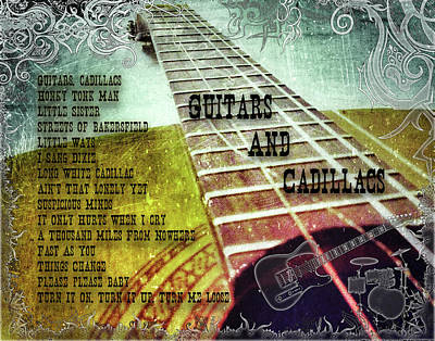 Digital Art - Guitars And Cadillacs by Michael Damiani