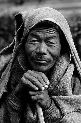 Photograph - Gurung Man In Blanket - Nepal  by Craig Lovell