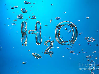 Abstract Photograph - H2o Formula Made By Oxygen Bubbles In Water by Oleksiy Maksymenko