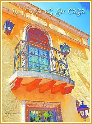 Digital Art - Hacienda Balcony Railing Lanterns Mi Casa Es Su Casa by A Gurmankin