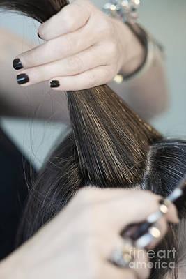 Photograph - Hairstylist Cutting Hair Of Female Customer by Jacek Malipan