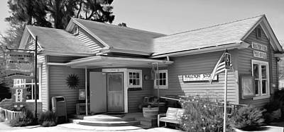Postoffices Painting - Halcyon Store Halcyon California Bw by Barbara Snyder