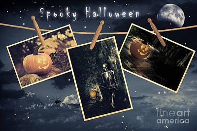 Halloween Line Art Print by Amanda Elwell