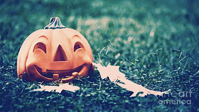Photograph - Halloween Pumpkin In The Forest by Anna Om