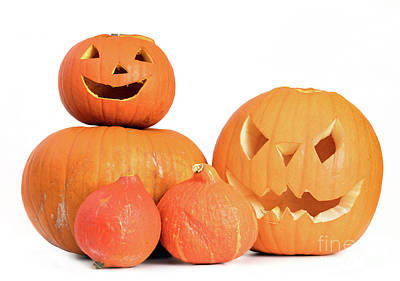 Creepy Photograph - Halloween Pumpkins, Jack-o-lantern Isolated On White by Michal Bednarek