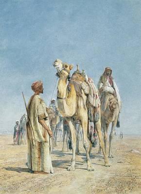 Arab Painting - Halt In The Desert by Celestial Images