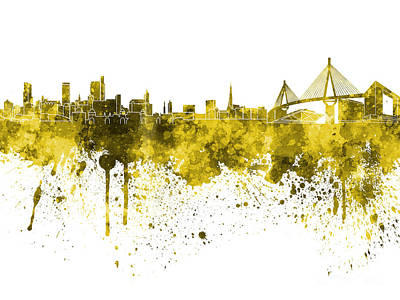 Hamburg Skyline In Yellow Watercolor On White Background Art Print by Pablo Romero