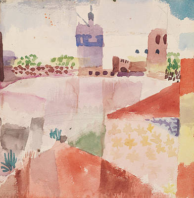 Surrealism Drawing - Hammamet With Its Mosque by Paul Klee