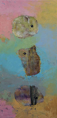 Hamster Painting - Three Little Hamsters by Michael Creese