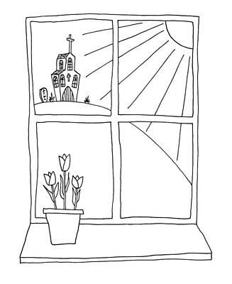 Cheerful Drawing - Hand Drawn Cartoon Style Doodle Illustration Of Spring Tulips On by Matthew Gibson