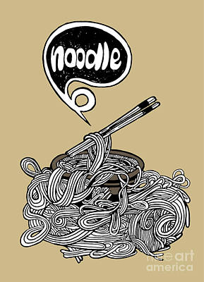hand drawn doodle Noodle background Art Print by Pakpong Pongatichat