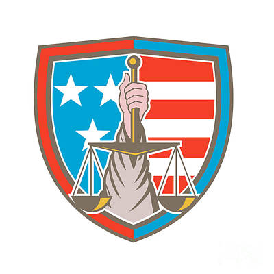 Scale Digital Art - Hand Holding Scales Of Justice Shield Retro by Aloysius Patrimonio