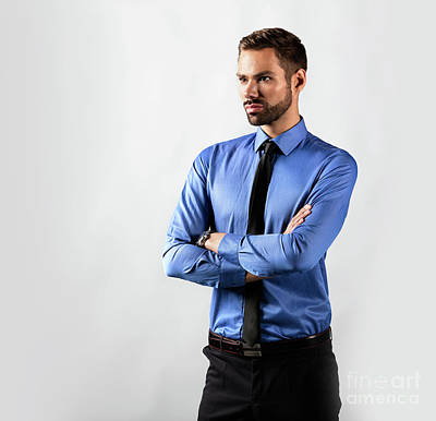 Photograph - Handsome Young Businessman Standing Confident. Isolated On White by Michal Bednarek