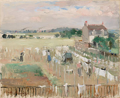 Painting - Hanging The Laundry Out To Dry by Berthe Morisot