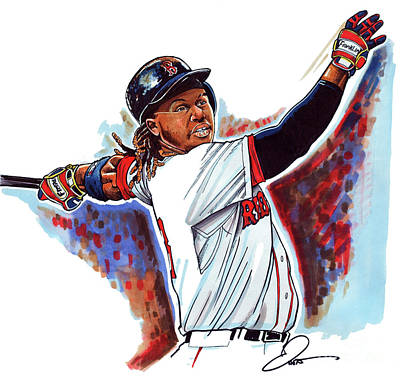 Baseball Art Drawing - Hanley Ramirez by Dave Olsen