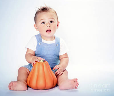 Photograph - Happy Boy With Thanksgiving Pumpkin by Anna Om